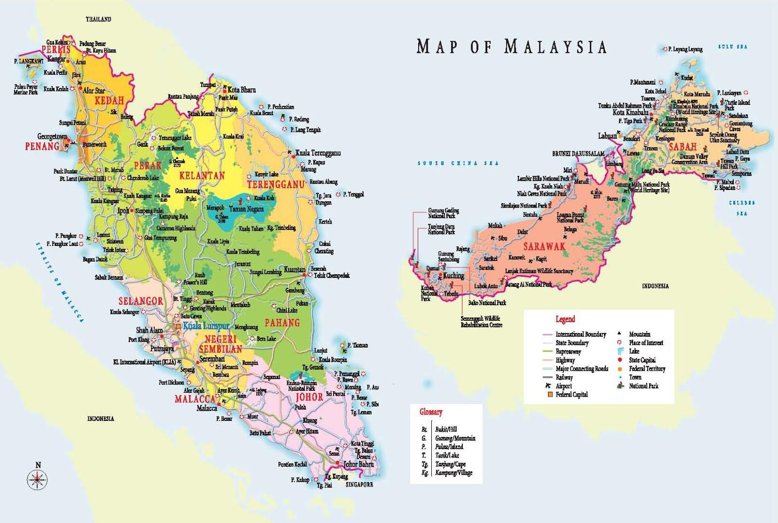 Malaysia Karte Malaysia Map Zoomable With Tourist Destinations