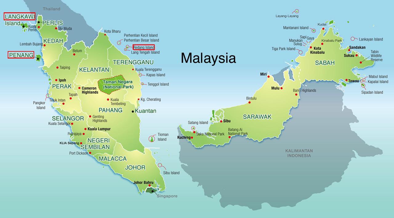 Malaysia Inseln Karte Karte Von Malaysia Und Die Inseln Sud Ost