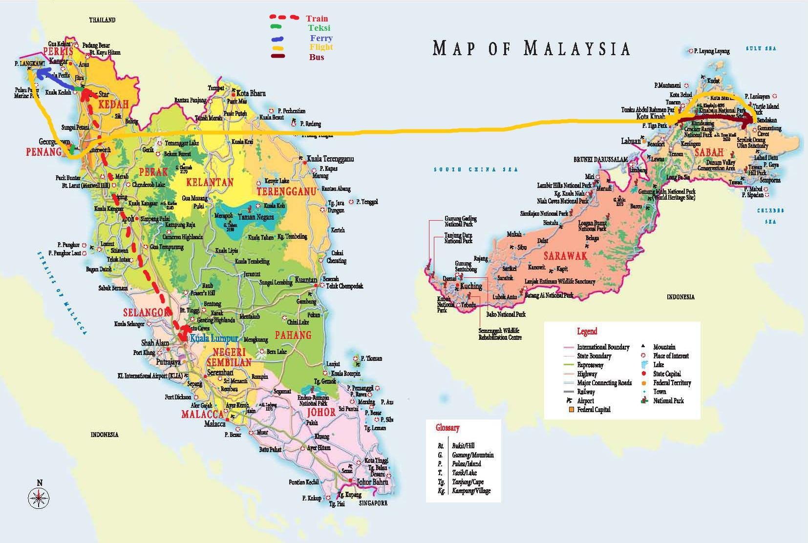 Malaysia-Staaten-map - Karte von Malaysia-hd (Süd-Ost ...