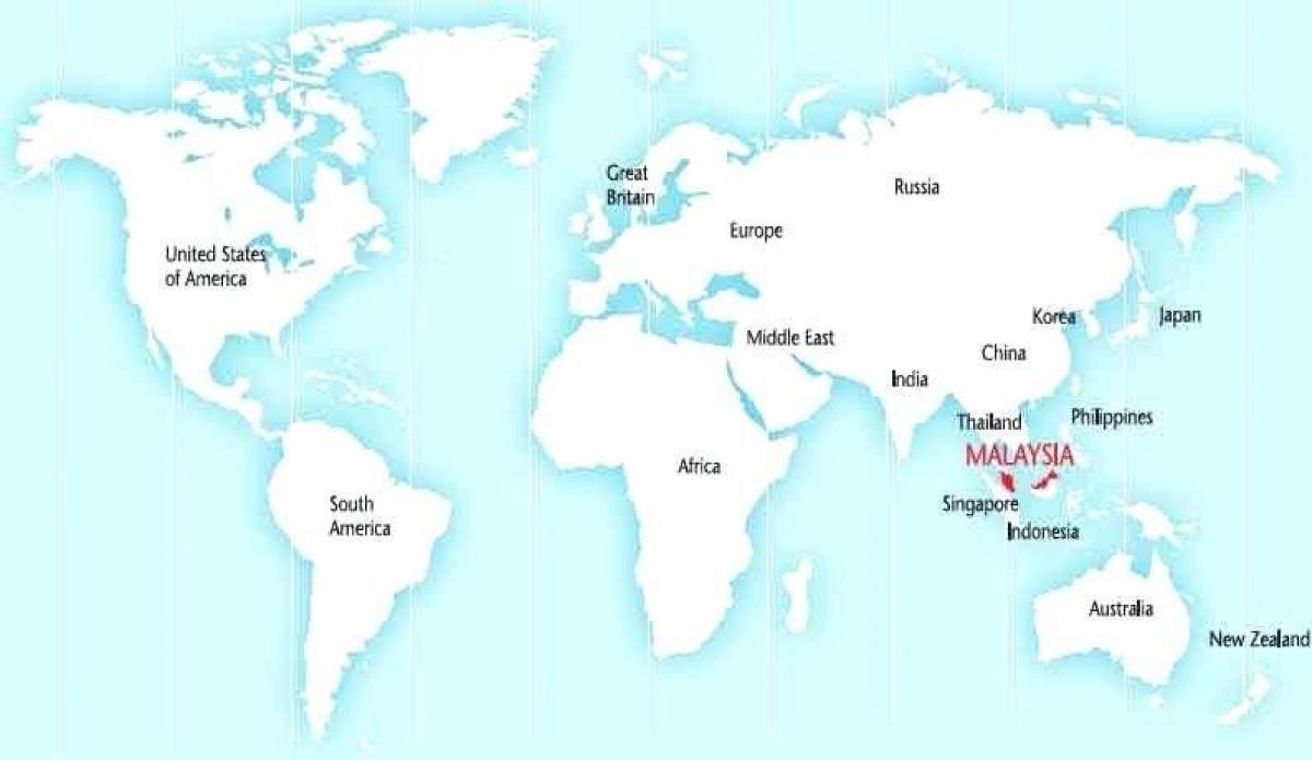 Malaysia auf der world map - Weltkarte malaysia (Süd-Ost - Asien, Asien)