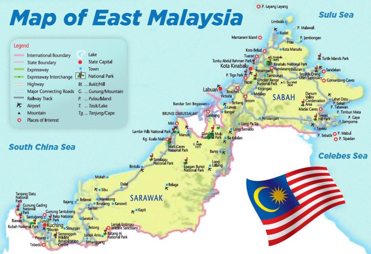 Karte Anzeigen.Ost Malaysia Map Karte Von Ost Malaysia Süd Ost Asien Asien